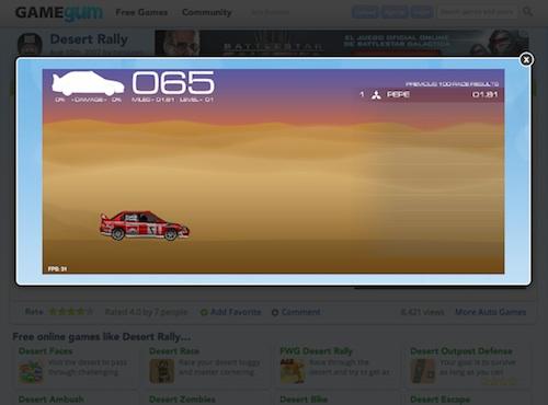 Jugando en Gamegum a pantalla completa