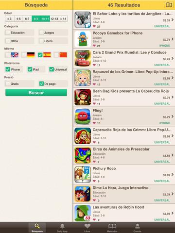 Pantalla de búsqueda de apps para niños